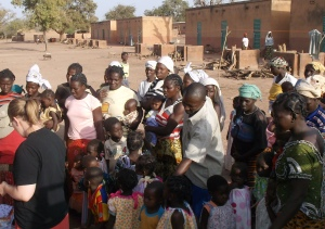 Some of the families living at the Bible school.